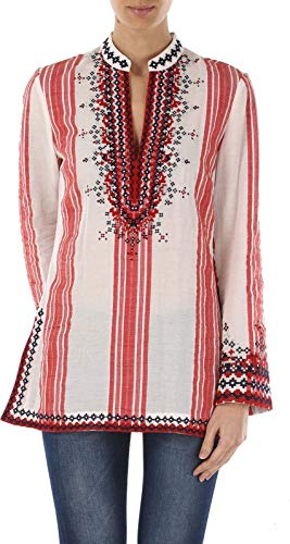- Tory Burch Embroidered Tory Tunic Cotton Top White/Red Stripe Size 2