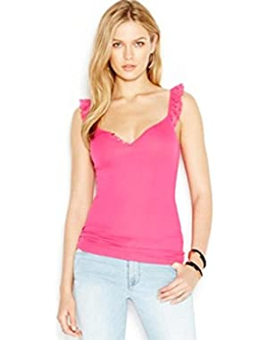 Guess Womens Ribbed Knit Lace Trim Tank Top Pink S