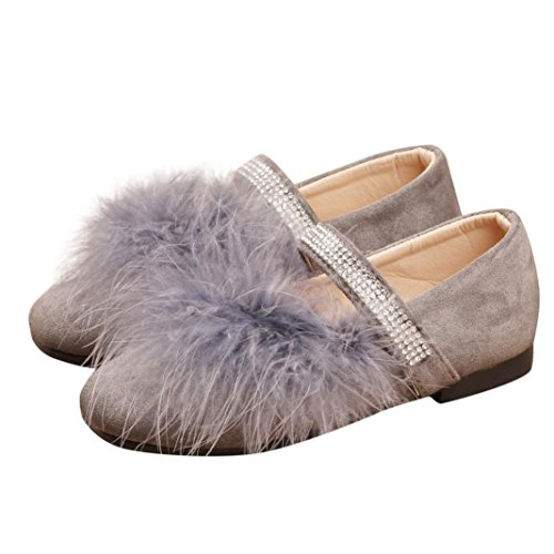 (Princess Dress Shoes Girls,Amiley Pom Pom Flock Crystal Little Girls Ballet Shoes Ballerina Bowknot Mary Jane Low Heels Wedding for Party Princess Dress Shoes (Gray, US:11/Age:8T))