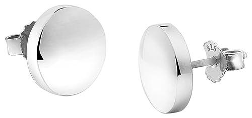 Nenalina Silber Damen-Ohrringe Ohrstecker rund mit glänzenden Oberflächen, 324403-090