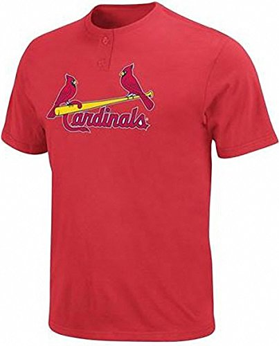 Majestic Athletic MLB St.Louis Cardinals Men's Two Button Jersey T-Shirt 50/50 (Medium)