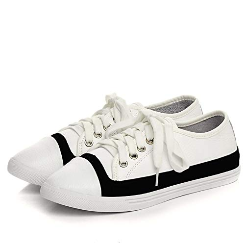 Sneakers Shoes Nappa Fall Black Women's White Heel Comfort Flat Leather ZHZNVX Black HnxY4S