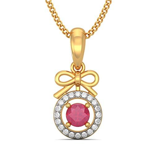 Or jaune 18K 0,1ct tw Round-cut-diamond (IJ | SI) et rubis Pendentif