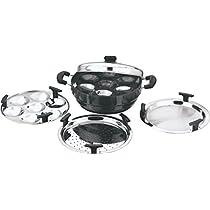 Vinod Cookware Aluminium Multi Cookware Set, 6-Pieces, Black