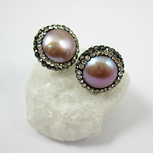 Pink Freshwater Pearl Pave Earring Studs, 22K Gold plated Solid Sterling Silver Vermeil - Zircon Pave - 1 pair ()