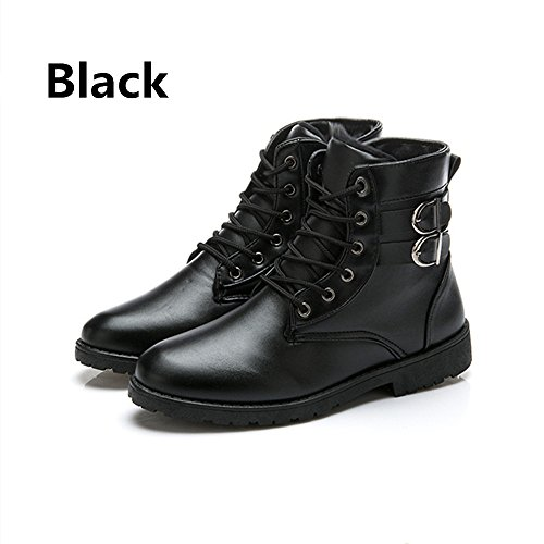 JACKSHIBO Men's Casual Lace Up Ankle Boots Plus Velvet Black,No velet