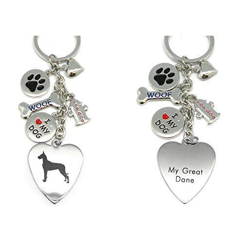 (Great Dane Keychain for Women, Girls, Boys, Men - Engraved Stainless Steel Dog Key Ring with Charms - Cute I Love My Dog Key Fob Gift - Cute Pet Accessories by Frogsac USA)