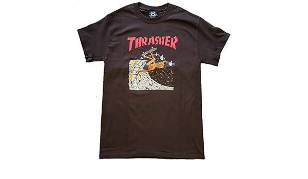 993ce6f60dba Amazon.com: Thrasher NECKFACE Invert SS Tshirt S-Brown: Sports & Outdoors