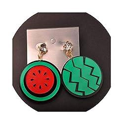 Women's Asymmetric Acrylic Watermelon Crystal Stud Earrings
