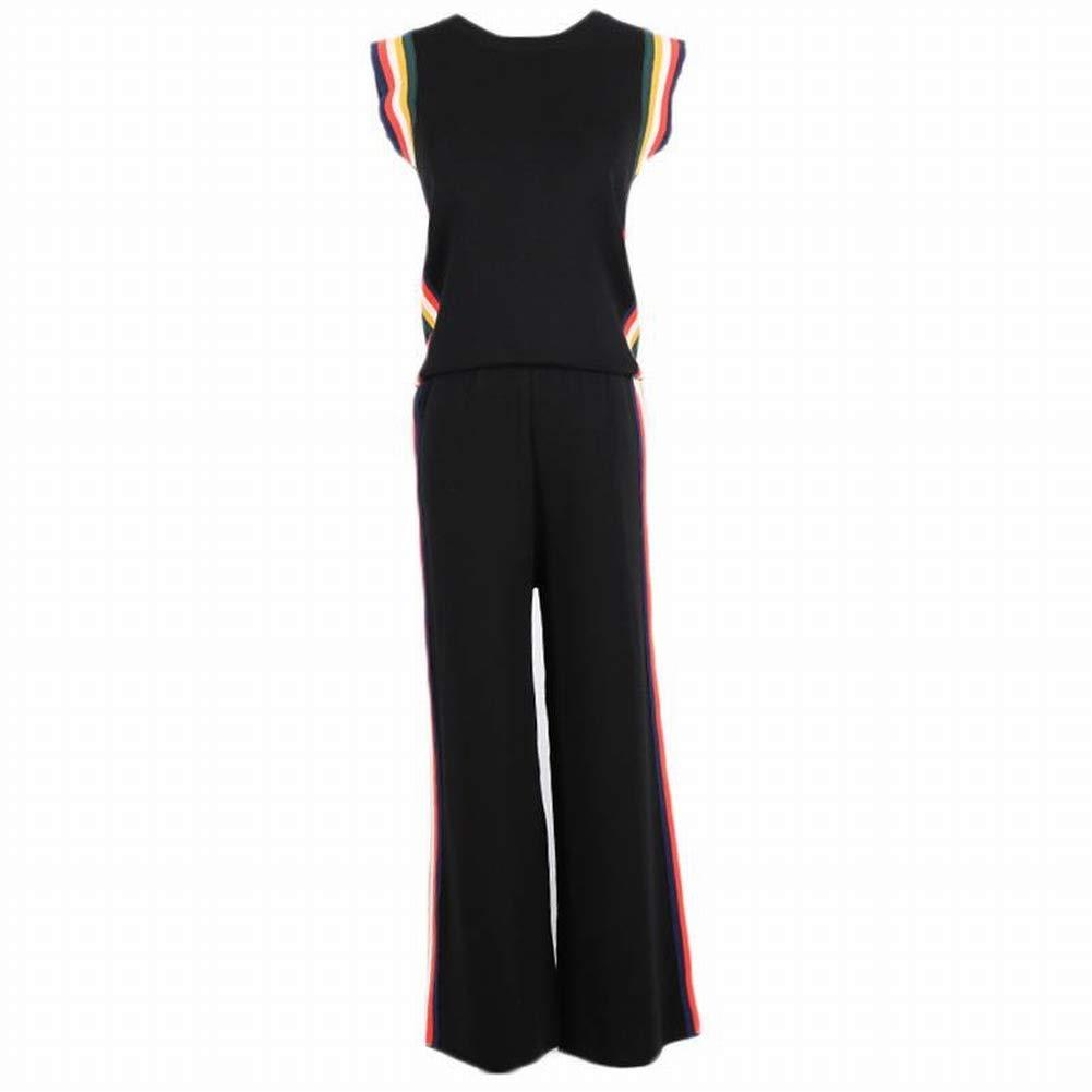 Good dress Frauen Ärmelloses Streifenkragen Rundhals Tank Top  Wide Leg Pants Stricken Zweiteilige Set B07H3JDQ6L Bekleidung Stilvoll und lustig
