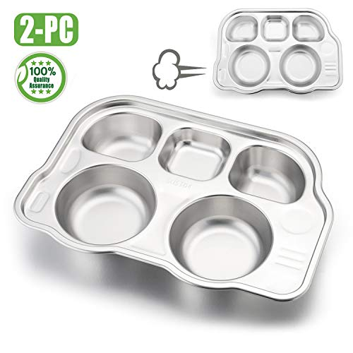Babies Toddlers Kids Divided Plates 2 Pack, HaWare 18/8 Stainless Steel Dinner Tray Dishes, BPA Free, Non Plastic, Matte Polished, Dishwasher Safe (Divided Plate Large)