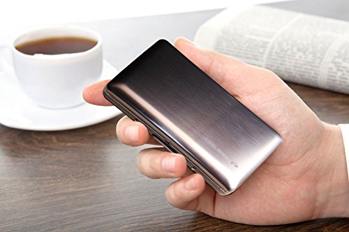Credit Card Case with RFID Technology - Latest Curved Design Brushed Stainless Steel - Cards Holder For Men & Women - Stylish Metal Travel Wallet Protecting Against Fraud & Identity Theft