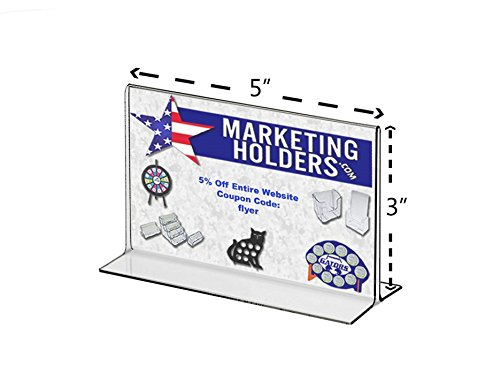 """Marketing Holders Clear Acrylic 5""""W x 3""""H Bottom Loading, Double-sided Table Sign Holder for Restaurants, Retail Stores and Offices (50, 5 x 3) by Marketing Holders (Image #1)"""