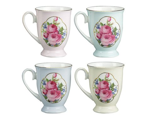 Ounce Footed Mug, Assorted 4 Designs, Royal Rose, Set of 4 (Footed Coffee Mug Set)