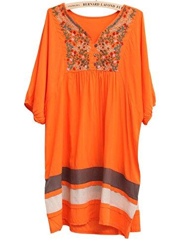 Dress Loose Short Summer Embroidered Congcong Ethnic Sleeve Style Women's Orange Cotton xWxzwq8BF