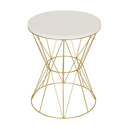 Kate and Laurel Mendel Round Accent Table with Cage Metal Frame, White and Gold (Round Nightstand White)