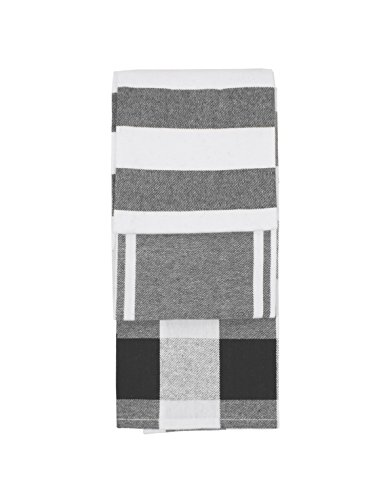 GOURMET PRO G.Pro 3 PC Tea Towel Set Kitchen, 16 x 26, Grey, 3 - Towel Kitchen 3 Tea Piece