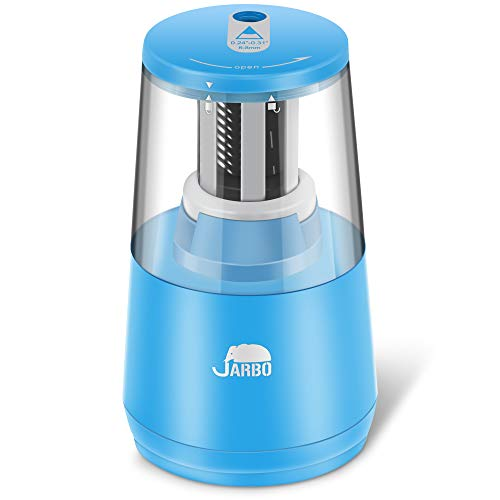 JARBO Electric Pencil Sharpener Heavy-duty Blade Helical to Fast Sharpen and Auto Stop for No.2 pencil and colored pencil, Operated with USB or AA Battery in classroom, office, home and studio