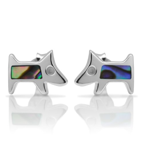 Silver Shell Post (925 Sterling Silver Tiny Puppy Dog Abalone Shell 9 mm Post Stud Earrings)