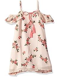 Little Girls' Floral Embroidered Cold Shoulder Dress