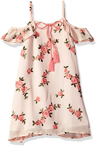 Rare Editions Little Girls' Floral Embroidered Cold Shoulder Dress, Peach, 6