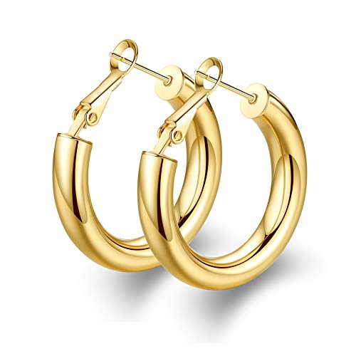 Thick Gold Hoop Earrings Statement Gold Hoops Stud Stainless Steel Gold Plated Earrings for - Earrings Gold Hoop
