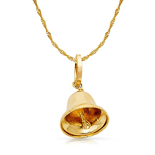 14K Yellow Gold Bell Charm Pendant with 0.9mm Singapore Chain Necklace - 22