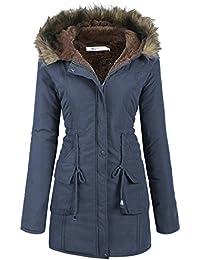 Womens Hooded Warm Winter Faux Fur Lined Parkas Long Coats