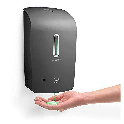 Alpine Wall Mountable, Touchless, Universal Foam Soap Dispenser for Offices, Schools, Warehouses, Food Service Facilities, and Manufacturing Plants, Battery Powered (Gray)