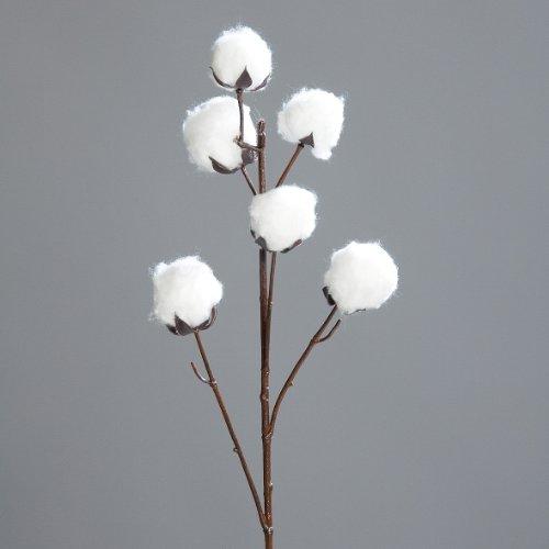 Baumwoll-Zweig 82 cm weiß Kunstpflanze Dekozweig Baumwolle