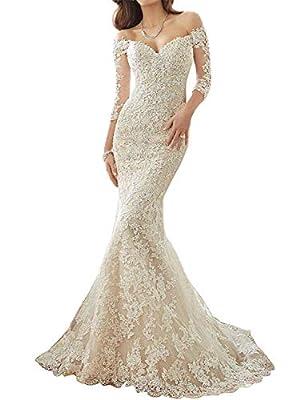 JoyVany Women 2019 Long Sleeve Mermaid Wedding Dress Sexy Back Lace Wedding Gowns JV761