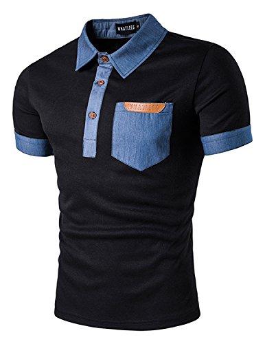 YCHENG Polo Camisetas para Hombre Manga Cortas Botón Collar Bolsillo Contrast de PU Mezclilla Negro