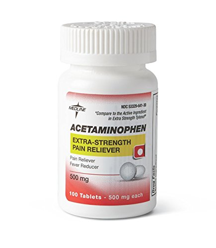 Medline OTC20101 Acetaminophen Extra Strength Tablets, 500 mg, 100 Tablets