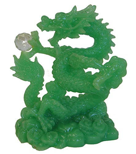 Feng Shui Import Chinese Green Dragon Statue Holding a Crystal Ball