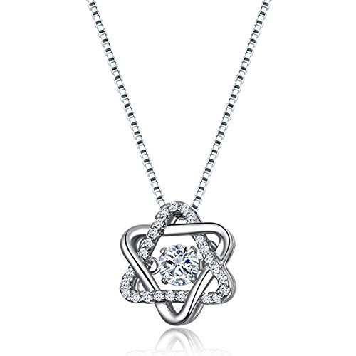 RHHY-FIROD Hexagon Women's Necklace in 925 Sterling Silver, Hand-Set with Zircon Craft, Tail Extension Chain Design Adjustable Length