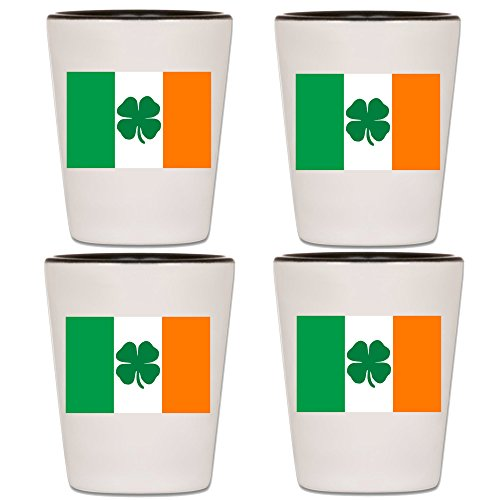 St. Patrick's Day Shot Glass - Irish Flag With Green Shamrock - Ireland Holiday Souvenir Accessories - Party Drinking Games and Bar Supplies - Gag Gift For Men and Women -