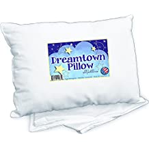 Toddler Pillow by Dreamtown Kids WITH PILLOWCASE For Kids Or Travel- Hypoallergenic (Ages 2-5) Chiropractor recommended for perfect neck safety. 14x19 inches with medium fluff makes the best size & thickness for sleeping in bed, crib, floor, carseat & airplane. Machine Washable, Made in USA, satisfaction guaranteed or your money back!