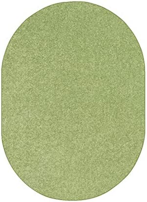 Bright House Solid Color Oval Shape Area Rugs Lime Green – 8 x10 Oval