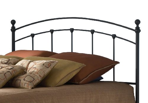 Sanford Metal Headboard with Castings and Round Finial Posts, Matte Black Finish, - Metal Full Headboard Size
