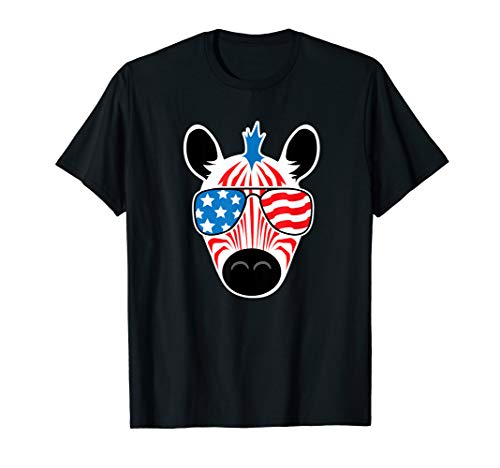 July 4th Zebra Tshirt American Flag USA Fourth Cute Kids T-Shirt ()