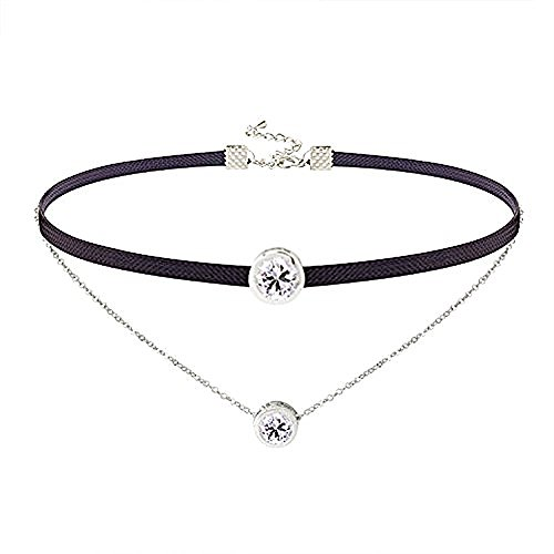 LOCHING Personality Elastic Black Cord Necklace Double Chain Necklaces Inlaid Zircon 925 Silver Double Collar Necklaces by LOCHING (Image #7)