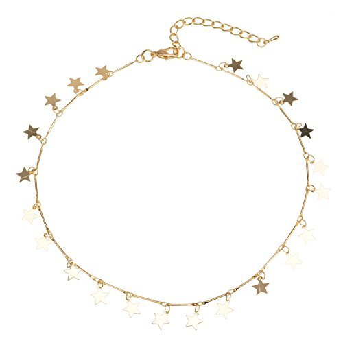 Manerson Lucky Star Choker Necklace Pendant Disc Chain Statement Necklace For Woman Jewellery Gold Tone