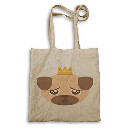 Funny Pug Crown bolso de mano v513r