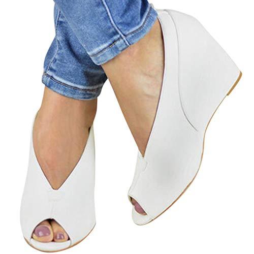 (Cenglings Women's Peep Toe Wedge Sandals V Port Platform Sandals Shallow Slip On Shoes Ladies High Heel Office Work Shoes White)