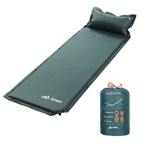 SEMOO Self-Inflating Camping Sleeping Mat/pad, 190T Polyester, Water Repellent Coating, with Attached Inflatable Pillow