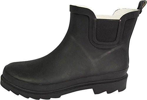 NORTY Damen Knöchel Regen Stiefel - für Damen - Regenstiefel wasserdicht für Winter Frühling und Garten - warm und bequem - Sohlen mit Grip - gut gebaut Matt-schwarz