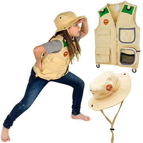 Born Toys Explorer and Safari Costume Vest and Hat Set for Kid Explorer and Outdoor Dress up and Role Play-Great for Park Ranger, Paleontologist, Zoo Keeper Costume, Kids Fishing and Adventure Kids]()