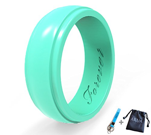 Arua Elegant Glossy Silicone Wedding Ring (Band) for Women. Thin, Comfortable, Durable. Gift Bag and Silicone Keychain Included - 6mm Wide. 1.75mm Thick - Black, Pink, Teal