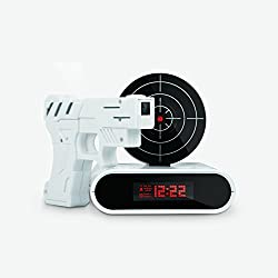 GPCT Target Recordable Gun Alarm Clock, 12hr Time Display, Recordable Voice Function, Two Game Modes and Alarm Modes - White