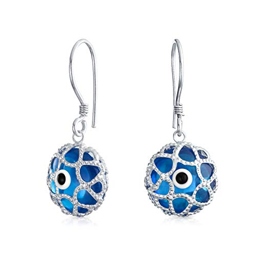 Blue Nazar Evil Eye Round Filigree Spiritual Protection Drop Earrings For Women Teen Murano Glass 925 Sterling Silver ()